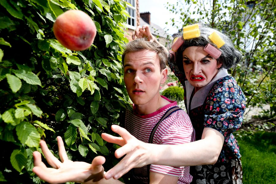 Matthew O'Brien as Aunt Spiker and Mark Lavery as James in Roald Dahl's James and the Giant Peach by Mill Productions – dlr Mill Theatre, Dundrum Town Centre from June 14th-25th PIC: NO FEE, MAXWELLPHOTOGRAPHY.IE Mill Productions present ROALD DAHL'SJames and the Giant Peach Adapted by David WoodDirected by Geoff O'KeeffeJune 14th - 25th 2017 at dlr Mill Theatre, Dundrum Town Centre, Dublin 16 James lives with Aunt Sponge and Aunt Spiker, the most revolting Aunts in England. They make him work and slave and never let him play with other children. Then one day he meets a mystical old man who gives him a bag that contains the strongest magic the world has ever known. When James accidentally spills the bag near an old peach tree, the most incredible things start to happen – and James embarks for more information please contact: Aoife O'TooleSales, Audience Development & Gallery Managerdlr Mill Theatre DundrumDundrum Town CentreDublin 16Phone: +353 01 296 9340aoife@milltheatre.ie
