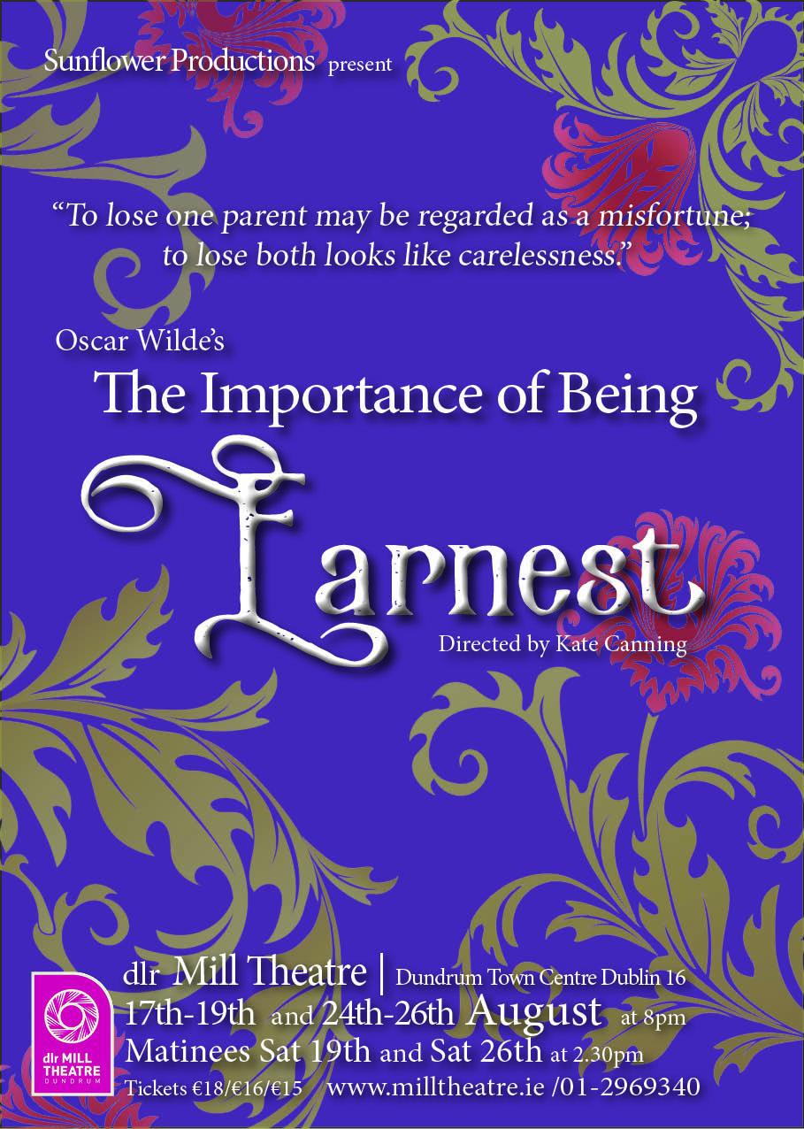 The Importance of Being Earnest August 2017 Oscar Wilde. Dundrum Town Centre Dublin Ireland